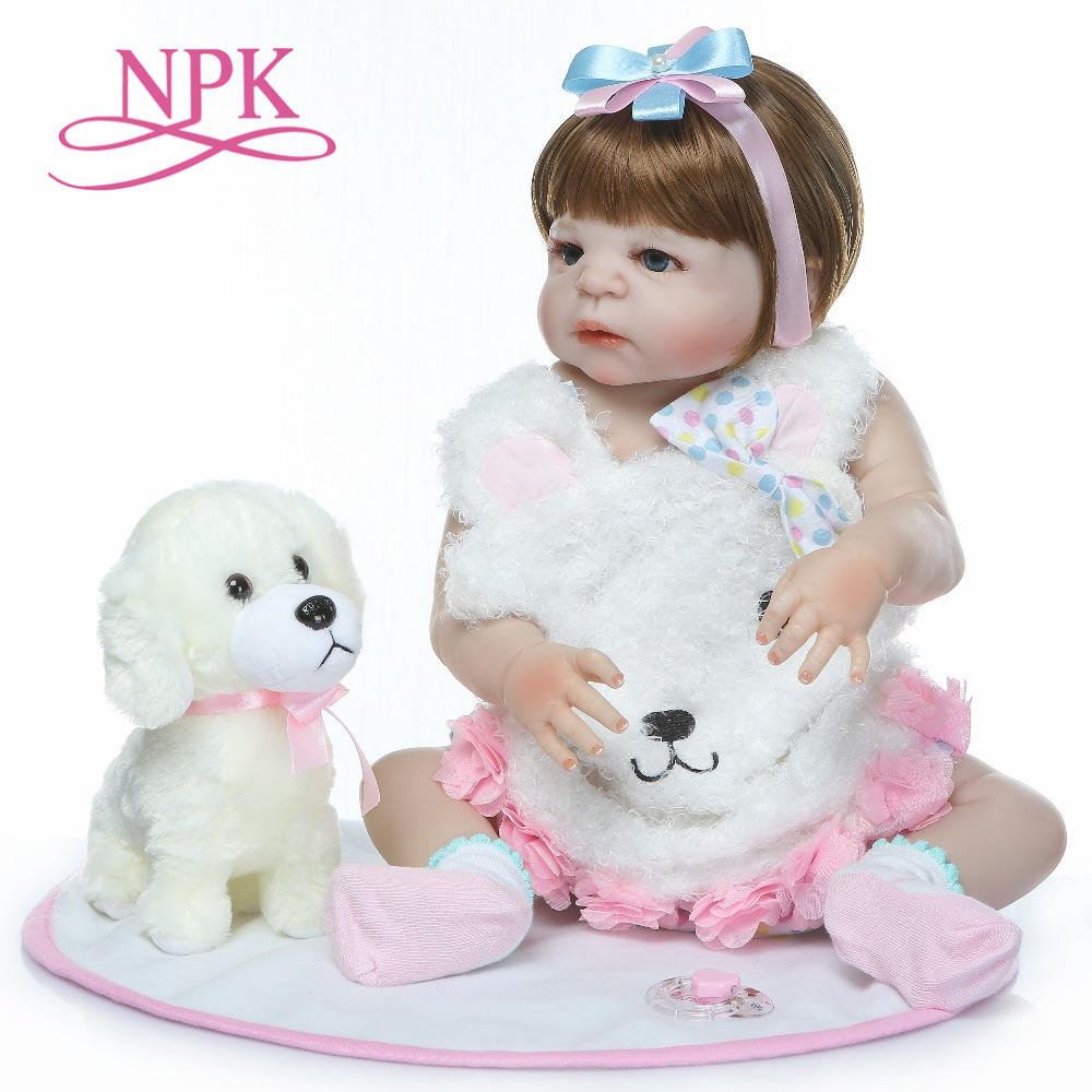 NPK 23 นิ้ว bebe ตุ๊กตาเด็กทารก reborn สมจริงซิลิโคนเต็มรูปแบบกันน้ำ lol boneca reborn corpo de ซิลิโคน menina-ใน ตุ๊กตา จาก ของเล่นและงานอดิเรก บน   1