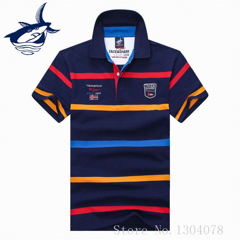 2017 New   polo   shirt men brand clothing Tace & Shark   polo   shirts cotton breathable striped shark men   polo   shirt camisa masculino