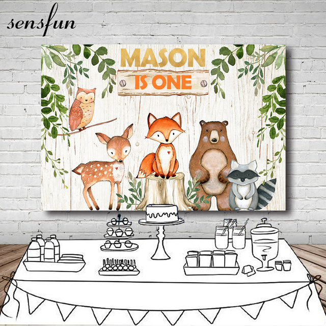 Sensfun 7x5ft Vinyl Woodland Baby Shower Backdrops Flower Animal Birthday Party Backdrop Photography Prop Photo Background