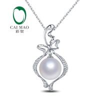 Femelle 14 k Or Blanc 11mm Ronde Southsea Blanc Perle Engagement Diamant Pendentif Livraison gratuite pour Noël