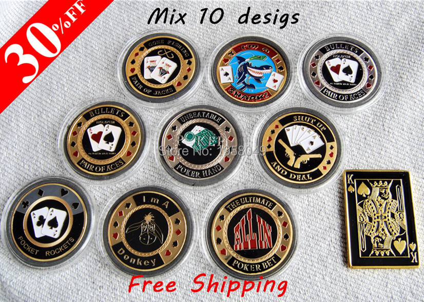 DHL free shipping 100pcs/lot (10 sets) Metal for Pressing Poker Cards Guard Protector Poker chips Souvenir Coins