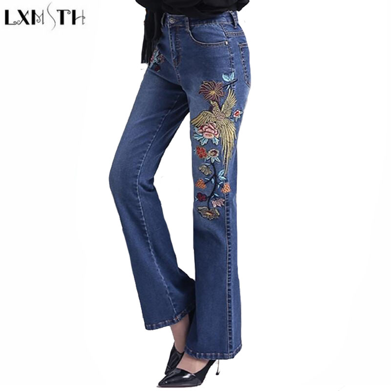 LXMSTH jeans Women Plus Size New Arrival Autumn 2017 National Style Vintage Embroidered jeans High Waist Slim Hip Flare Pants