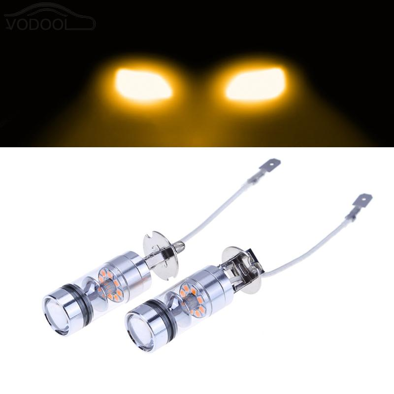 2Pcs Automotive LED Fog Lamp H3 20smd 100W High Power Headlamp Bulb Yellow Light-emitting Diode Daytime Running Lights Car DRL cawanerl 1 pair 100w h3 car led bulb 20 smd 2200lm white 6000k automotive fog light daytime running lamp headlight low beam drl
