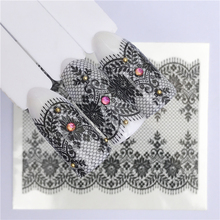 FWC 1 Sheet White Black Nail Stickers Water Transfer Decals Lace Flowers Butterfly Slider for Nail Art Decoration Manicure стоимость