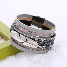 2016 Hot Sale Alloy Feather Leaves Wide Multilayer Magnetic font b Bracelet b font Leather font