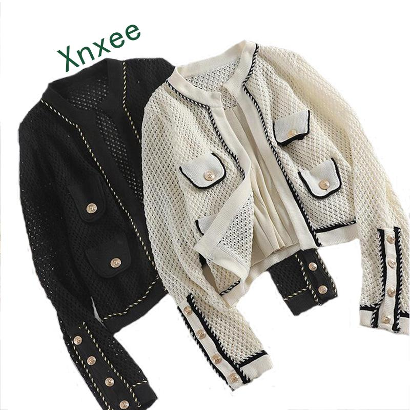 Xnxee Hollow Out Knitted Women Summer Jacket Sun Protection Cardigan Lurex Summer Women Knit Jacket Fashion Patch Designs Co