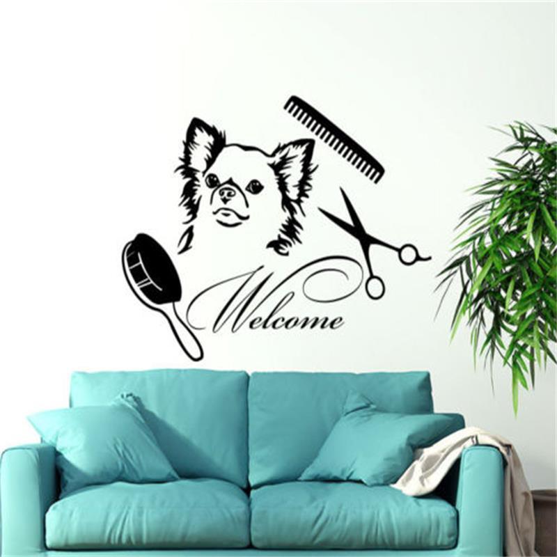 Dog Wall Decals Welcome Grooming Salon Decal Vinyl Sticker Pet Shop Animals