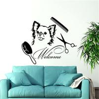 Dog Wall Decals Welcome Grooming Salon Decal Vinyl Sticker Pet Shop Animals