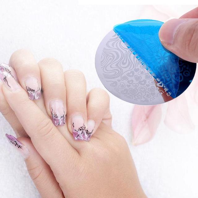 10pcs Nail Plates+Silicone Stamper,Nail Art Scraper Cap Stamping ...