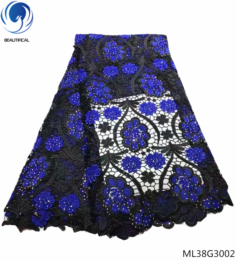 BEAUTIFICAL cord lace fabrics rhinestone fabric lace guipure lace fabric wedding dress with blue flower style 5yards/lot ML38G30BEAUTIFICAL cord lace fabrics rhinestone fabric lace guipure lace fabric wedding dress with blue flower style 5yards/lot ML38G30