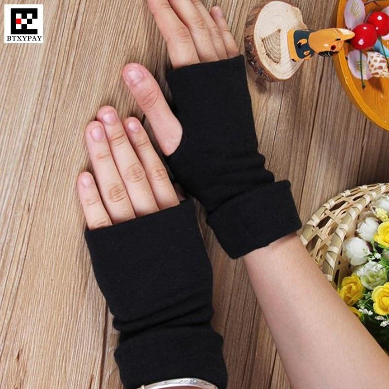 Winter Warm Boy&Girl Pure Cotton Fabric Fingerless Gloves,Stretch Men&Women Half Finger Gloves Extended Sleeve Cuff Mittens