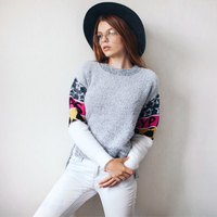 PASS 2016 Autumn New Knitting Sweaters O Neck Student Contrast Color Patchwork Spliced Sweater Pullovers