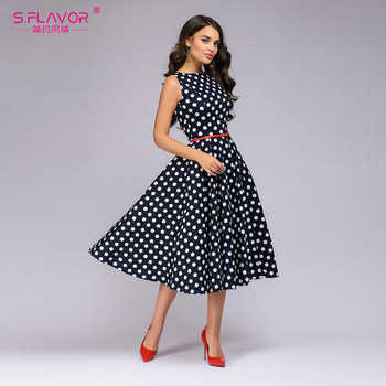 S.FLAVOR Women Retro Sleeveless Polka Dot Print Dress O Neck Vintage Dresses Knee Length Party vestidos de festa - DISCOUNT ITEM  49% OFF All Category