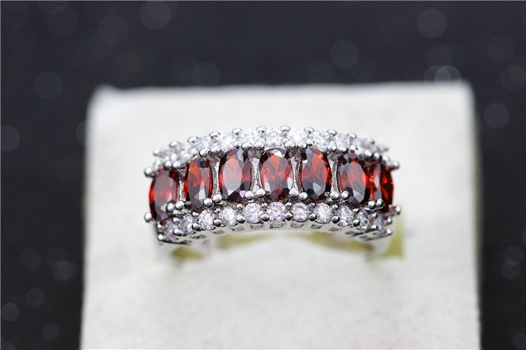 Uloveido Valentine's Day Gift Womens Silver Plated Red Wedding Large Colored Ring Red Green Zircon Sets Ringen Jewelry 2016 J501 23