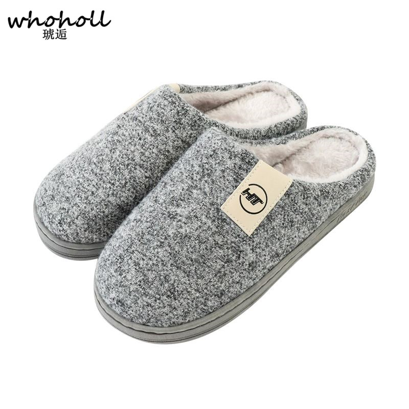 WHOHOLL New Arrival Men Home Slippers Shoes Solid Winter Antiskid Woolen Wrap Toe Footwear Fur Slippers For Men Pantuflas