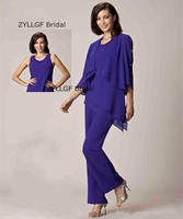 ZYLLGF Bridal Three Piece Chiffon Mother Of The Bride Pant Suits With O Neck Mother of the Bride Dress With Jacket MB7