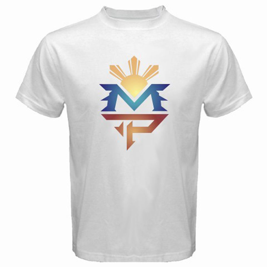 New Manny Pacquiao Classic Logo Pac Man Pinoy Mens White T-Shirt Size S to 3XLShort Sleeve Crew Neck Fashion