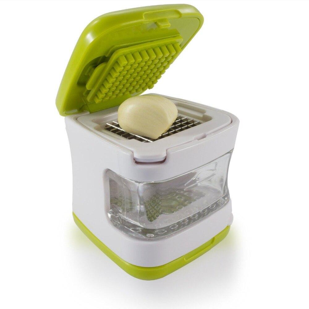 Sweettreats ajo prensa muy afiladas cuchillas de acero inoxidable, bandeja de plástico transparente incorporado, Verde