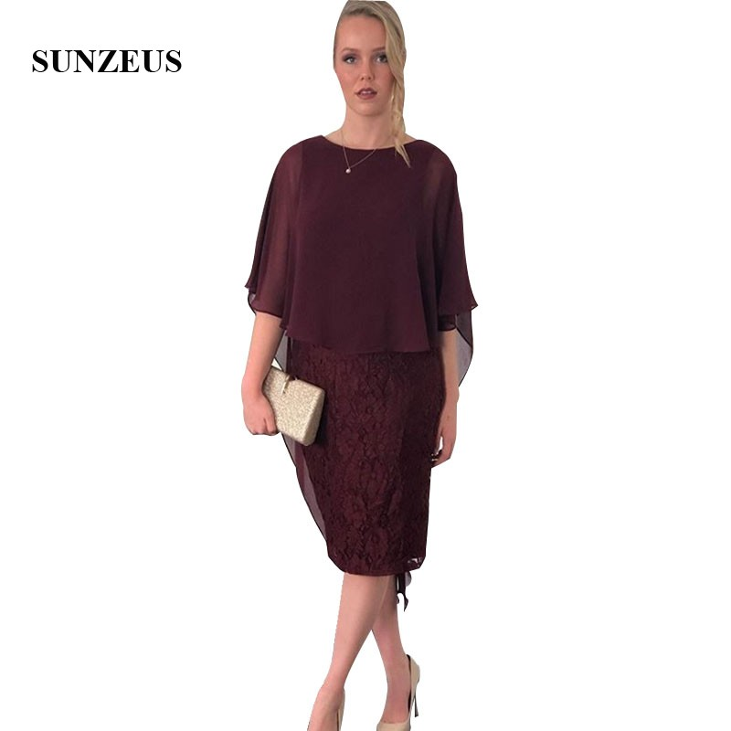 Sheath Knee Length Lace Wedding Party Dress With Chiffon Cape Burgundy Bride Mother Dress Elegant Women Dinner Gowns