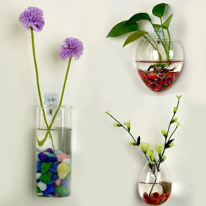 Wall Vase Glass Bottle Hydroponic Plants Flower Clear Container Hanging Vase Home Garden Decor