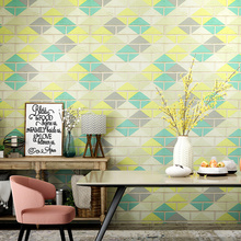 Noridc Brick 3D Wall Papers Home Decor Colorful Rhombus Waterproof Contact Wall Paper for Coffee Tea Hosue Walls vinilos pared наклейки ftf 2015 vinilos 3d 33