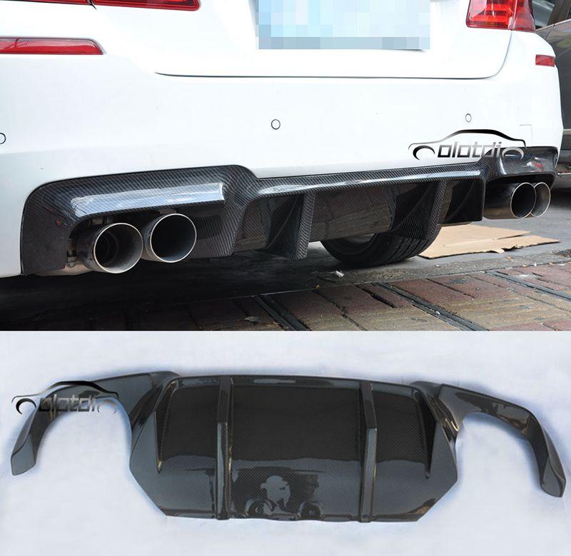 F10 M Sport Splitter Real Carbon Fiber Rear Bumper Lip Spoiler Diffuser for BMW 5 Series F10 M Sport Tech M5 2012 UP V DTM Style