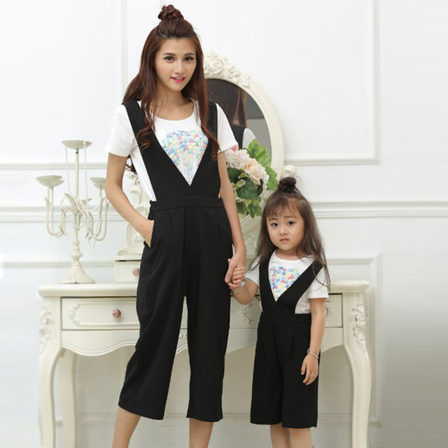 efad450fc1b Mother Daughter Outfits 2019 Fashion Summer Clothing Sets for Girls and  Women Two Piece Jumpsuit Mom Daughter Matching Clothes