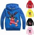 2016 2-7лет дети кролик мальчиков зимние толстовки и кофты ГБ британский Bing Кролик мультфильм одежда девушка толстовки одежды ребенка