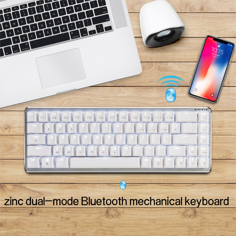 Ajazz Zinic 68 Keys Mechanical Keyboard All Metal Body Switches Black / Blue / Brown / Red Axis LED Backlight Bluetooth wireless