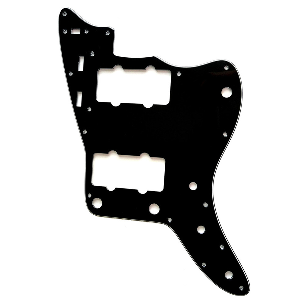 Pleroo Custom Guitar Parts - For US Jazzmaster Style Guitar Pickguard Replacement , 3 Ply Black
