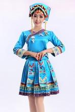 Azul rojo de las mujeres hmong chino tradiciones nacionales hmong miao ropa tujia dress ropa de baile trajes de rendimiento etapa