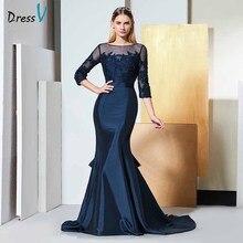 Vestido de encaje Dressv elegante con cuello redondo y mangas 3/4, vestido de noche con cuentas hasta el suelo, vestido formal de fiesta de boda, vestidos de noche