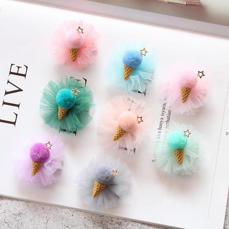 Boutique 20pcs Fashion Cute Star Pom Pom Icecream Hairpins Kawaii Solid Lace Icecream Cone Hair Clips Headware Accessories