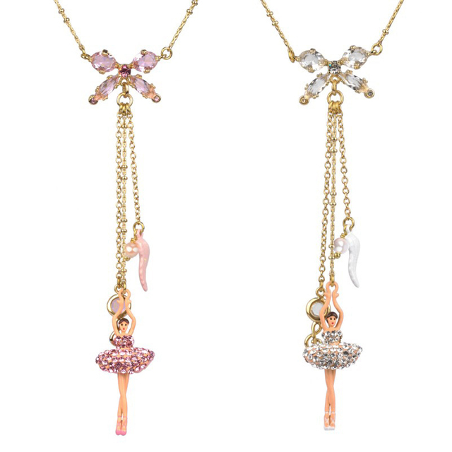 Ballet Gem Necklace For Women Luxury Noble Dancing Girl Crystal Tassel Necklaces Good Quality Party Prom Jewelry