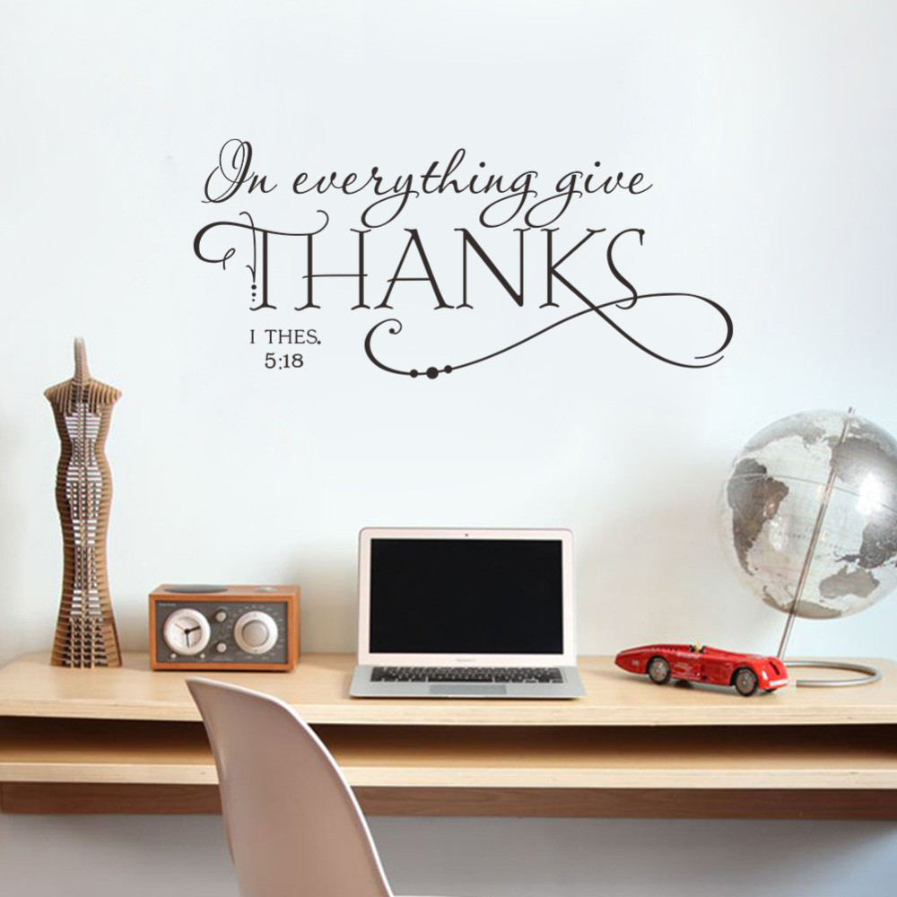 In Everything Give Thanks Christian Jesus Vinyl Quotes Wall Sticker Diy Art Living Room Decals Home Black Characters Decorations Stickers From
