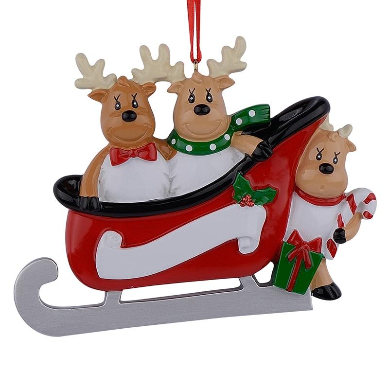Resin Reindeer Family Sled Family Of 3 Christmas Ornaments ...