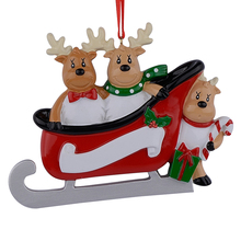 Resin Reindeer Family Sled Of 3 Christmas Ornaments Personalized Gifts Write Own Name For Holiday or Home Decor