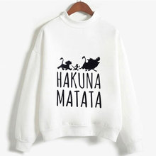 Cute Hakuna Matata Graphic Hoodies Sweatshirt Women Letter Print Kpop Clothes Funny Casual O-Neck Long Sleeve Shirt White Hoodie letter graphic sweatshirt