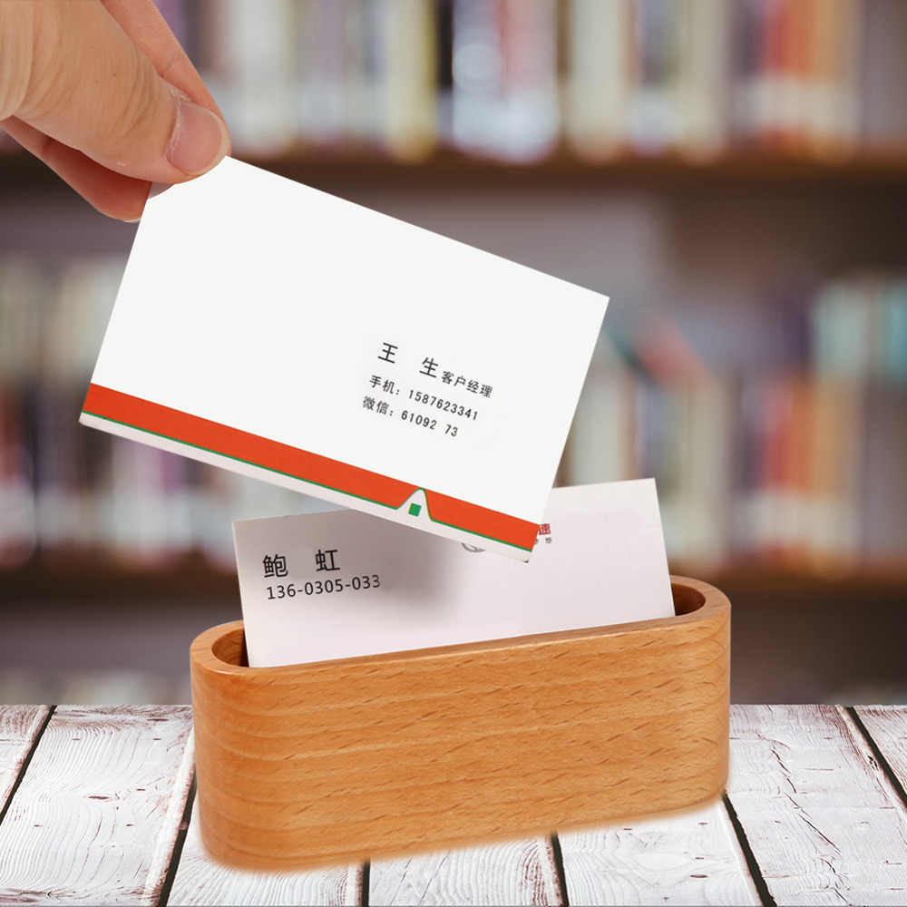 Creative Wooden Business Card Holder Case Storage Box Organizer Office Desktop Name Display Stand Shelf Ornaments In Home From