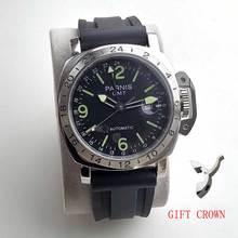 parnis GMT wristwatch black dial automatic movement watch 44