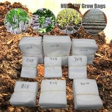MUCIAKIE 100 sztuk płaskie tkaniny przedszkole rosną torby biodegradowalne rosnące torby ekologiczne wentylowane torby ochrony korzeni roślin