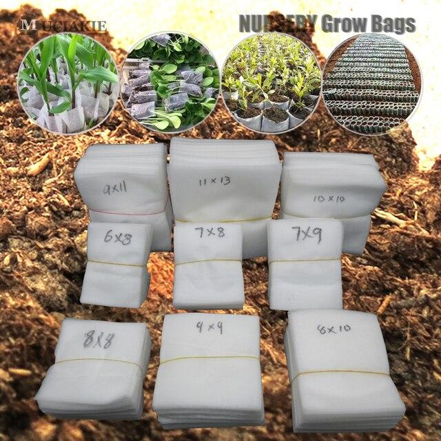 MUCIAKIE 100PCS ผ้าแบนเนอสเซอรี่ Grow ถุงย่อยสลายได้ปลูกกระเป๋าเป็นมิตรกับสิ่งแวดล้อมระบายอากาศพืชรากป้องกัน