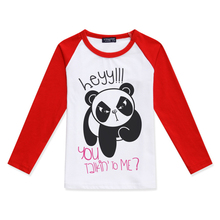 Boy Tshirts Funny Cartoon Panda Printed Boys Raglan Long Sleeve Tops Girl T Shirt Fashion Cotton Color Block T-Shirt Kids Tshirt color block single pocket t shirt