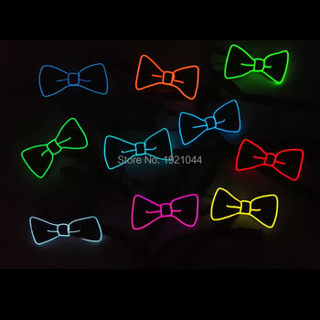 10pieces High-grade EL Wire Glowing Bow Tie Neon Cold Light Bow Tie Wedding Party Decorative Props Powered by 2-AAA Batteries