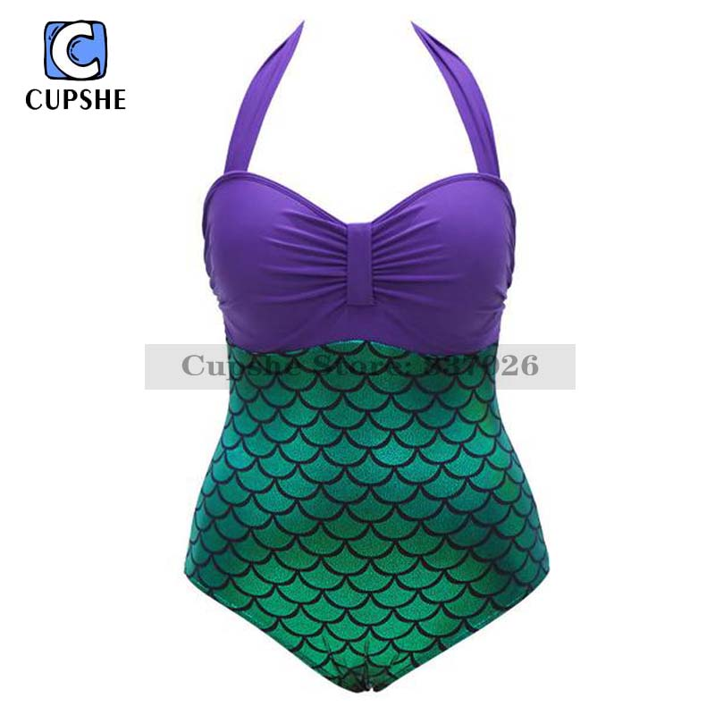 <font><b>Cupshe</b></font> <font><b>Mermaid</b></font> <font><b>Halter</b></font> <font><b>One-piece</b></font> <font><b>Swimsuit</b></font> Women Summer Sexy <font><b>Swimsuit</b></font> Ladies Beach Bathing Suit swimwear
