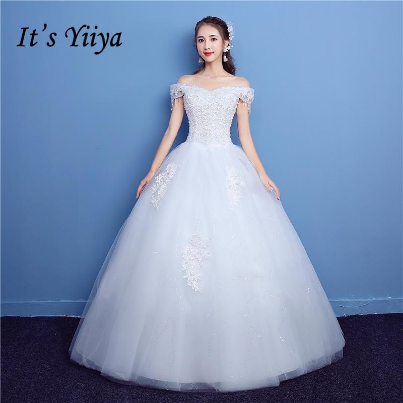 Plus Size Wedding Gown Patterns: Aliexpress.com : Buy It's YiiYa Off White Sleeveless Boat