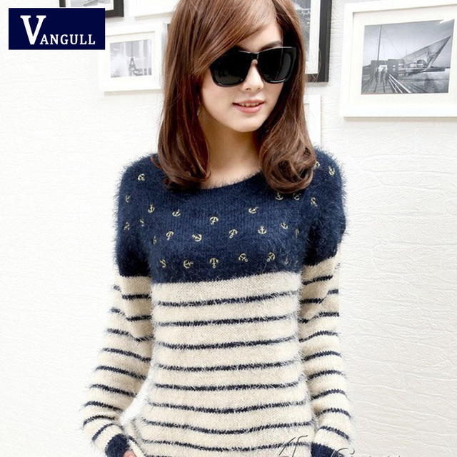 women striped O neck sweater 2016 new Spring winter mohair sweater female long-haired coat female super soft