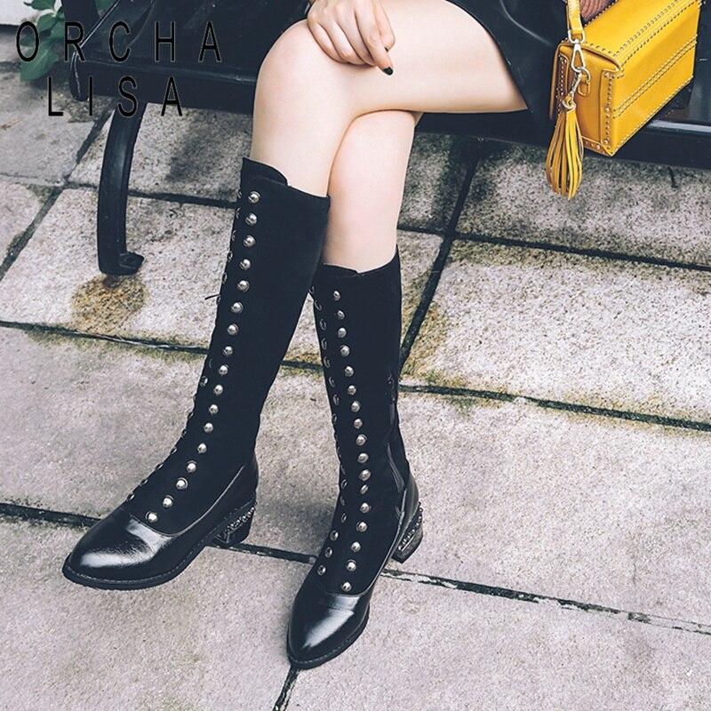 ORCHA LISA/Женская обувь Сапоги выше колена обувь Для женщин заклепки Bling сапоги до колена, на высоком каблуке, без шнурков, Зимние черные сапоги