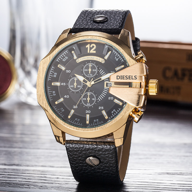 2019 Christmas gift Sports Mens Watches Fashion Dial Display Watch Quartz Watch Leather Band DZ Fashion diesels watches 11