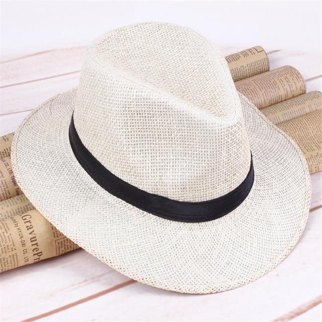 ac95b827e US $14.6 27% OFF|2018 Summer Beach Men Sun Hat Women Jazz Straw Hat Casual  Panama Cap Male Fashion Hat For Men Visor Cap AD573-in Sun Hats from ...